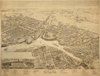 Bird's eye view of the city of Ottawa (Ontario) / Author - Brosius, Herman (American, fl. 1871-1884) Courtesy of Toronto Public Library